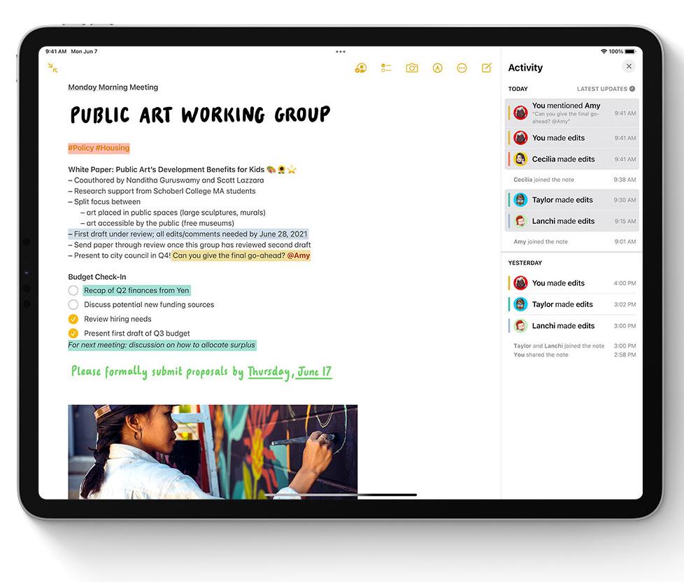 Etiquetas para las notas en la App de Notas