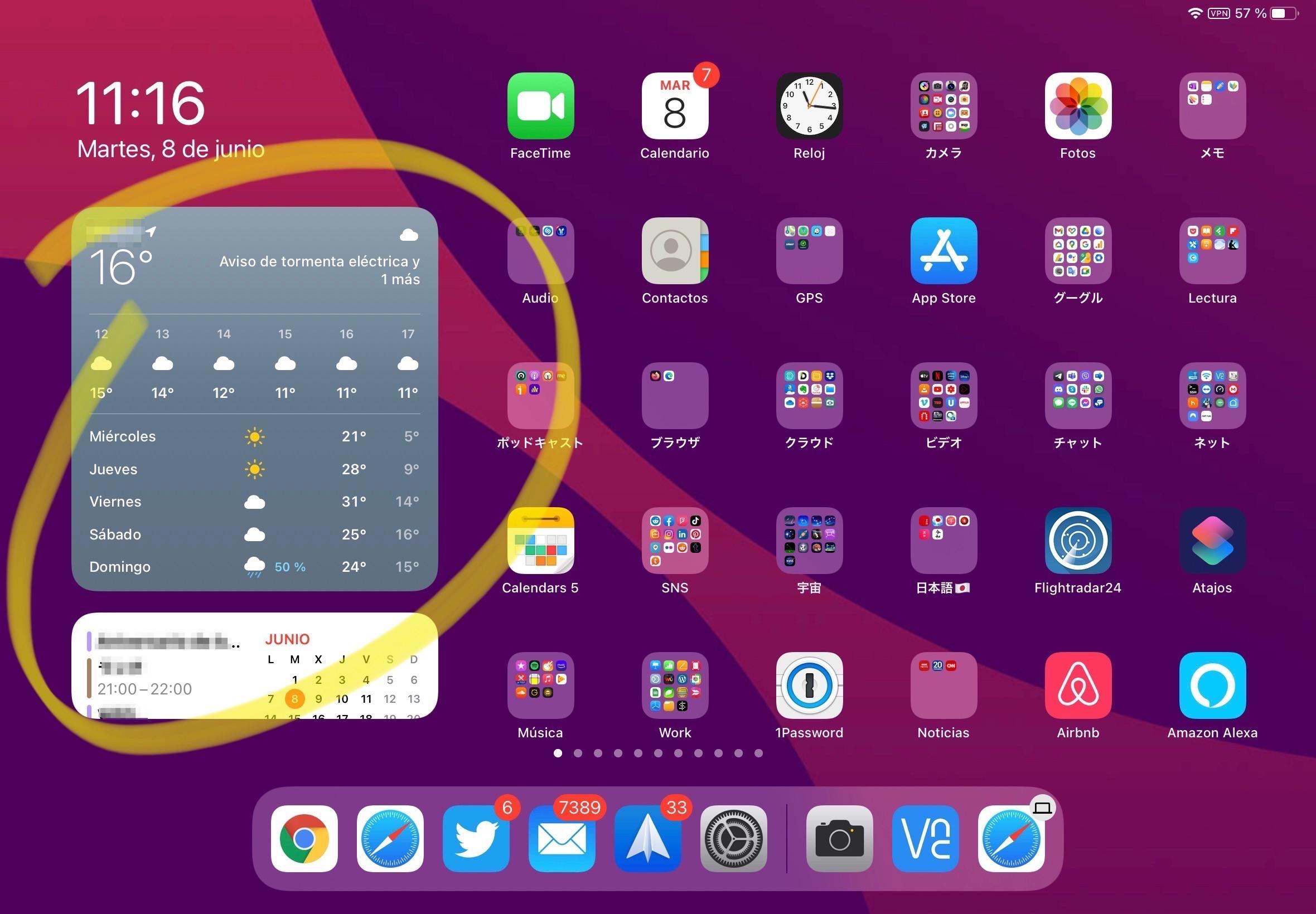 iPadOS 14 con los Widgets recluidos en un área