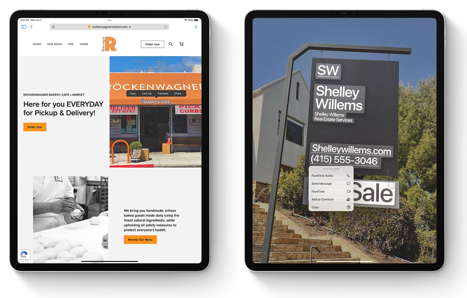 Reconocimiento de texto en imágenes en iPadOS 15.