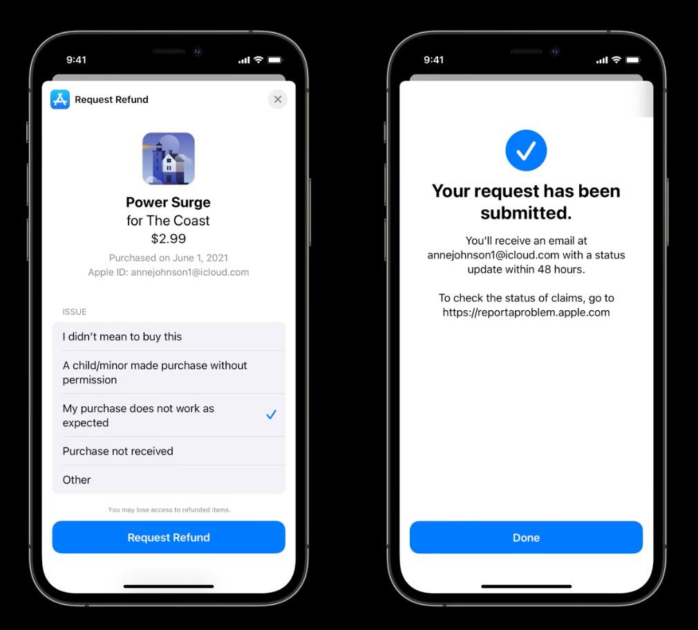 Petición de devolución de dinero dentro de una App, con StoreKit 2