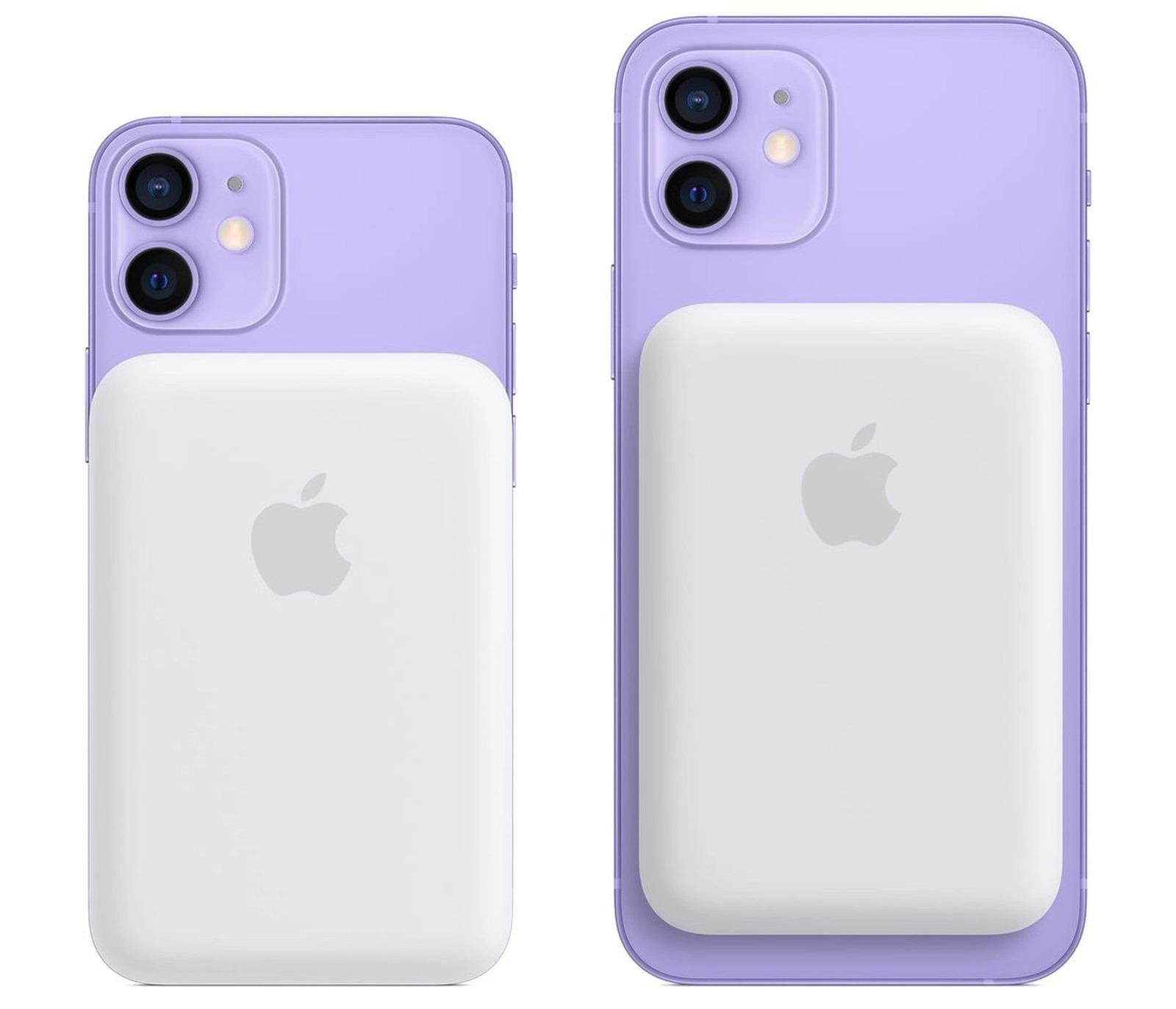 MagSafe Battery Pack en un iPhone 12 morado