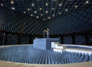 Cámara de pruebas de antenas de Apple, para medir señales de radio