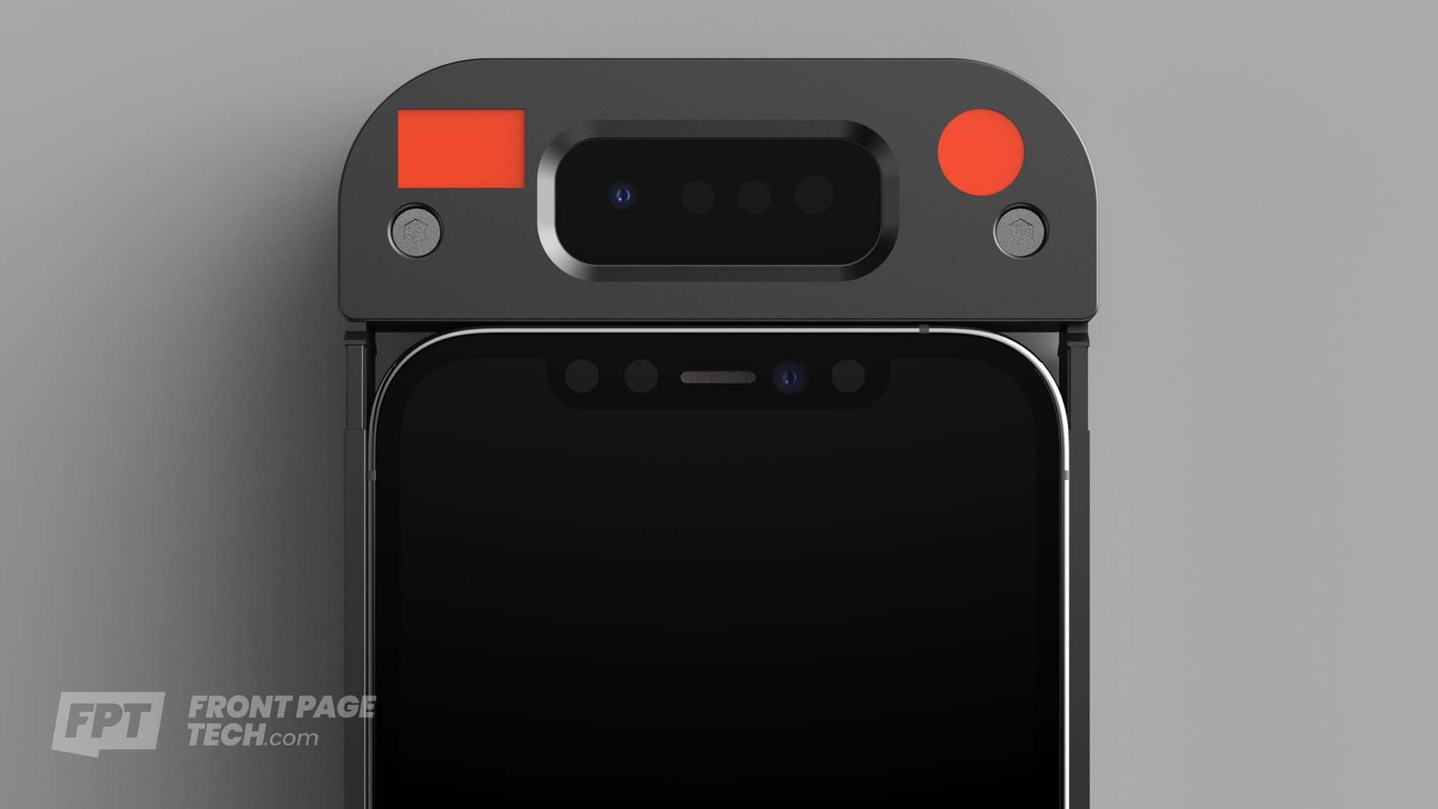 Nuevo juego de sensores TrueDepth situados en una funda para poder probarlos en modelos de iPhone anteriores