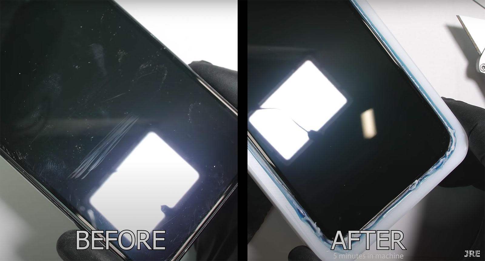 Antes y después de la eliminación de arañazos en la pantalla de un iPhone