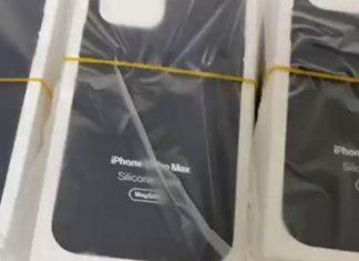 Fotograma del vídeo borrado mostrando las fundas con el nombre de iPhone 13 Pro Max