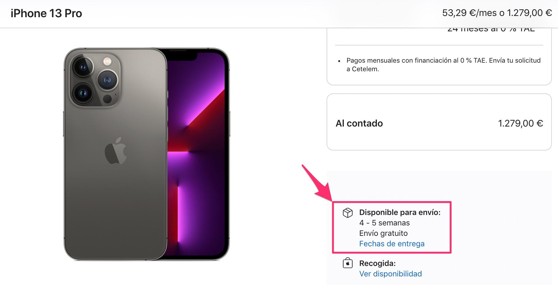 Tiempos de espera de 4 o 5 semanas para comprar un iPhone 13 Pro