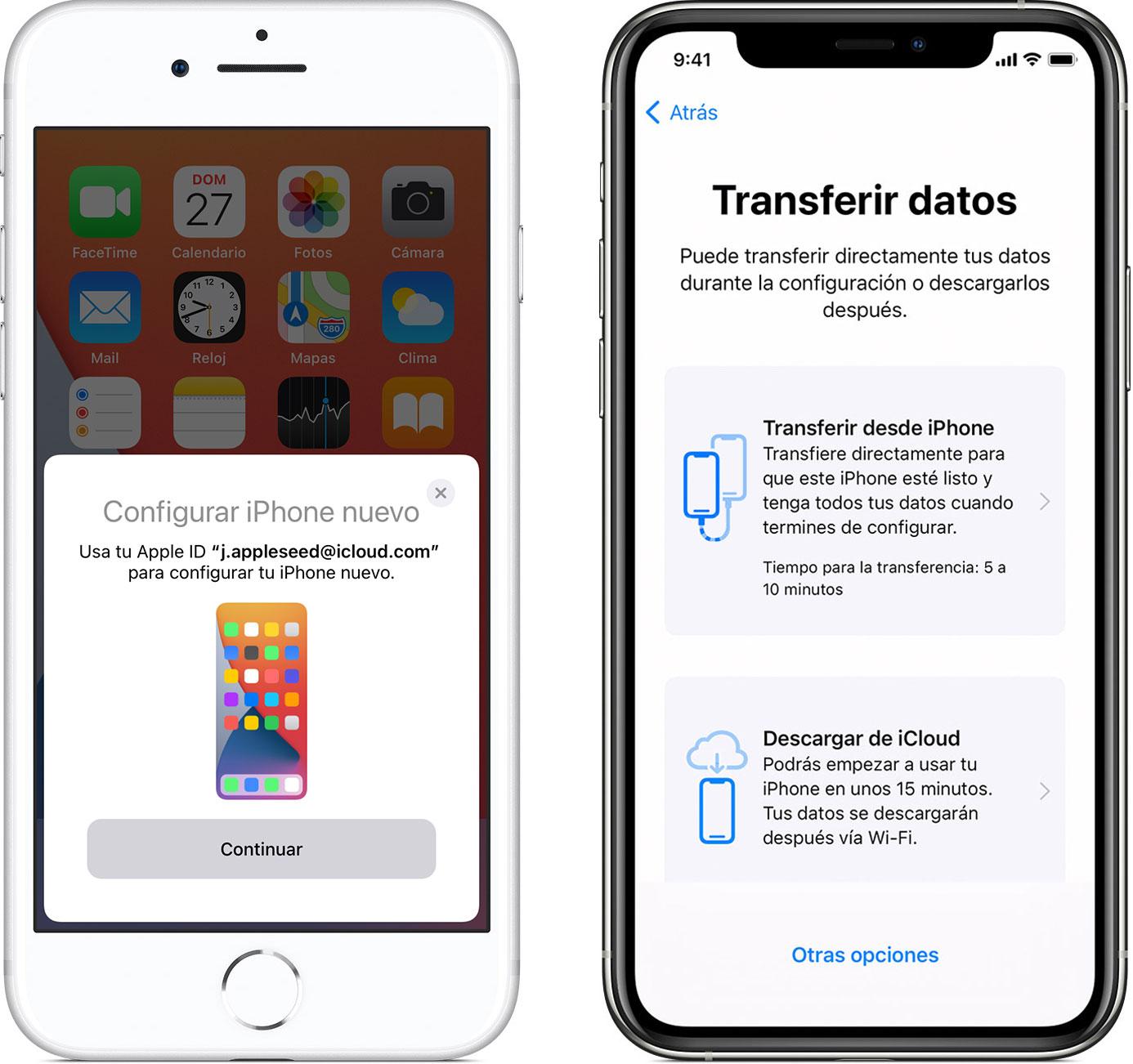 Inicio rápido o Quick Start para transferir o copiar datos de un iPhone viejo a uno nuevo