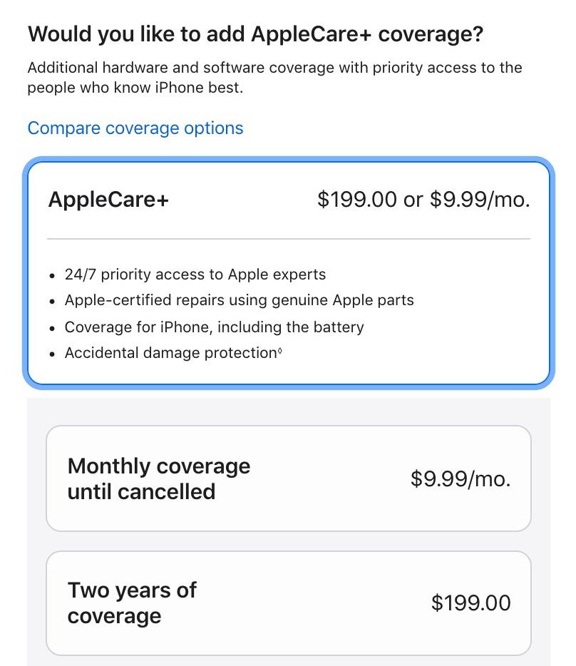 Apple Care+ pagando mensualmente