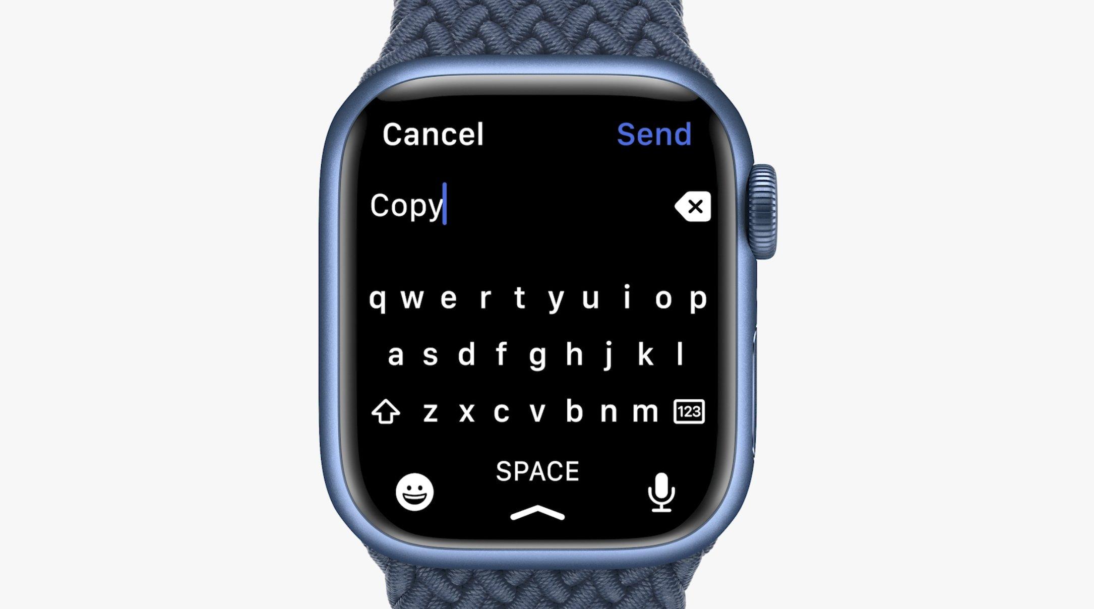 Teclado virtual del Apple Watch Series 7