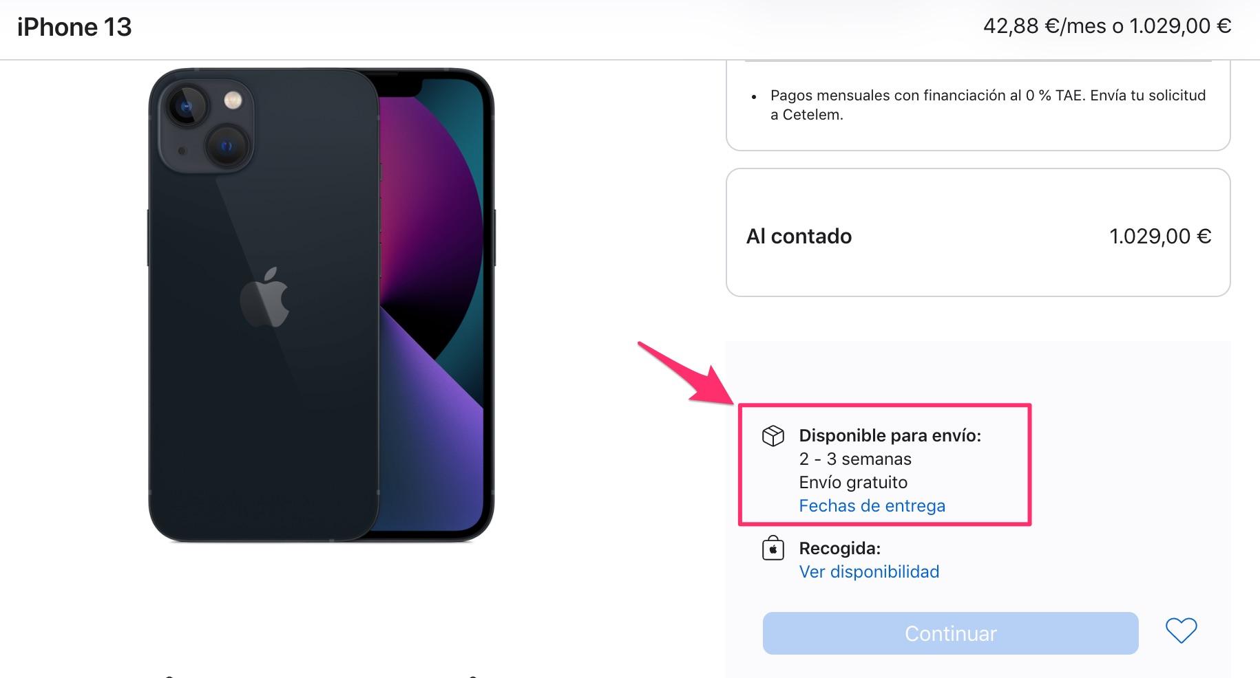 Tiempos de entrega de 3 semanas para el iPhone 13