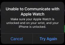 Error No se ha podido establecer comunicación con el Apple Watch