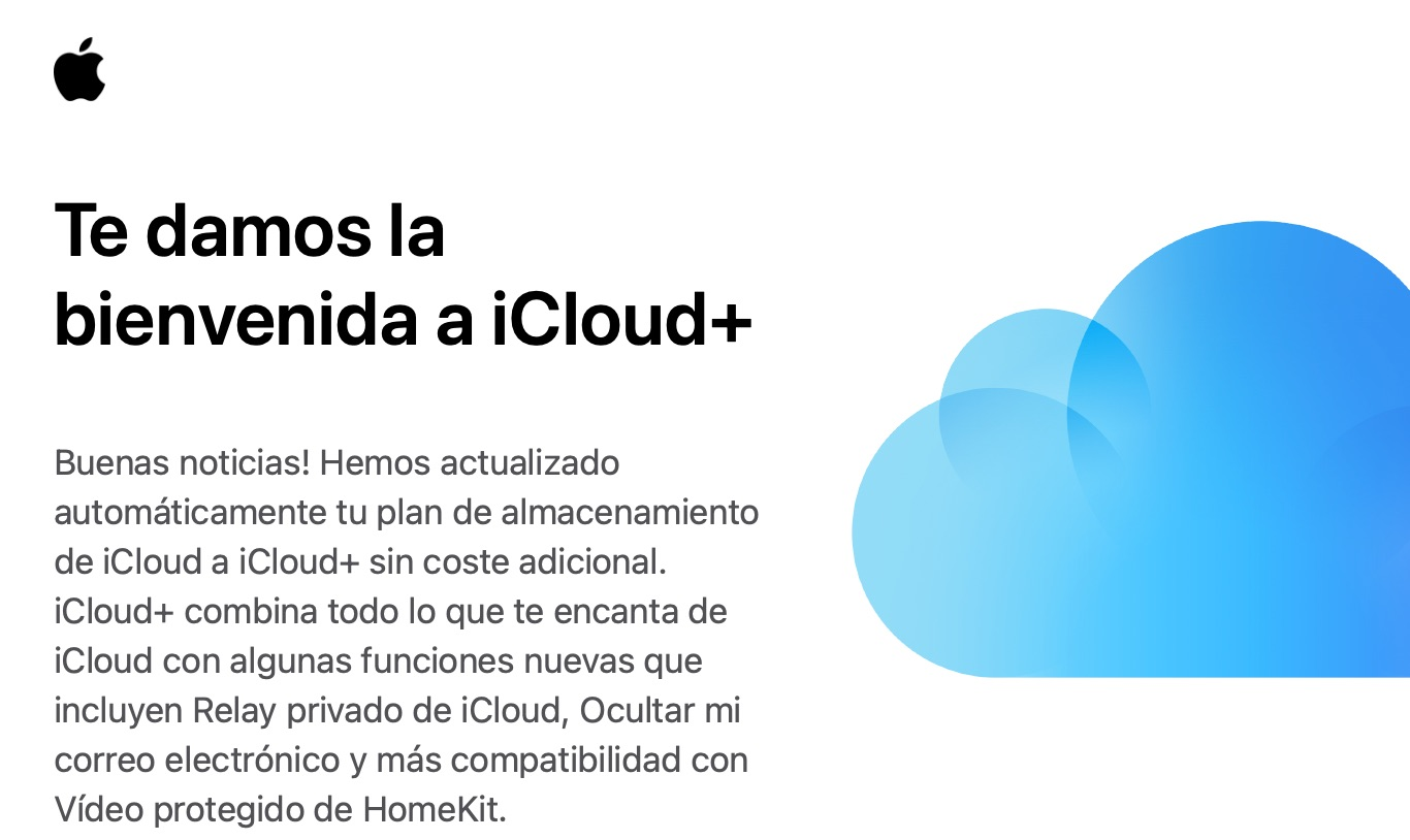 Email dando salida a iCloud+