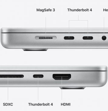 Puertos en el MacBook Pro del 2021 con M1 Pro